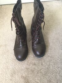 Pair of brown leather combat boots Alexandria, 22315