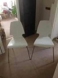 Two white Ikea wooden chairs. Good condition. One year old.  London, N5 2EH