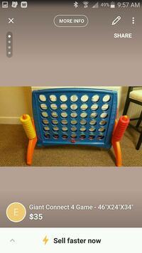 """Giant Connect 4 Game - 46""""X24""""X34"""" Hilliard, 43026"""