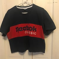 vintage red and navy reebok cropped t shirt