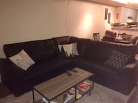 Black Faux Leather Sectional Couch