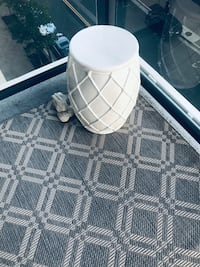 Moving Sale - brand new Indoor/Outdoor Rug, table and Darden stool