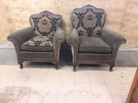 two gray-and-black floral sofa chairs 1188 mi