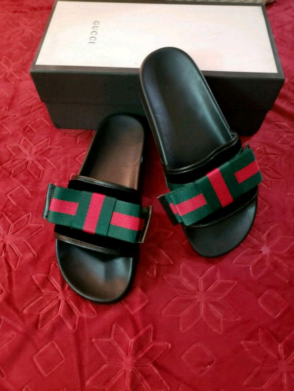 c96a244e9fdb Used Pair of black-and-red gucci slide sandals for sale in Brooklyn ...