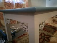white and French Blue Table with Scrolls Topeka, 66618
