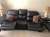 black leather 3-seat recliner sofa 54 km