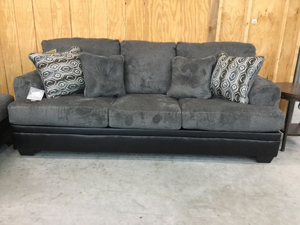 Gray Microfiber sectional sofa with throw pillows