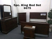 brown wooden bed frame with text overlay Lake Elsinore, 92530