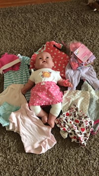 Baby doll, clothes, and  accessories