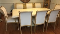 White and brown marble dining table set and 8 Chairs Germantown, 20874