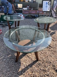Glass and wood coffee table and side tables