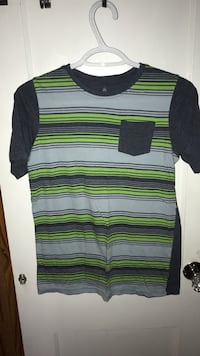 grey, black, and green striped crew-neck t-shirt with side pocket Hamilton, L8H 4P7