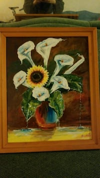 Flower Bouquet Framed Canvas Painting