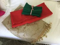 Holiday table linens, gold table runner, 8 napkins, 2 red tablecloths (44x52 and 56x96) Irvine, 92614