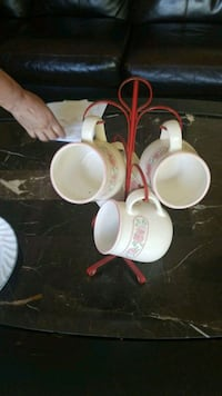 white and red ceramic tea set Edmonton, T6X 1A4