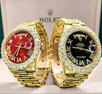 two round gold analog watches with link bracelets Maryland