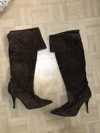 Suede brown boots heels, size 40 / 10 Montreal, H4K