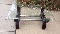 Wooden black living room table with glass top(paid $250 new)