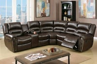 Brown bonded leather recliner sofa Sectional Couch Moreno Valley