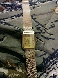 square gold analog watch with gold link bracelet Anderson, 46011