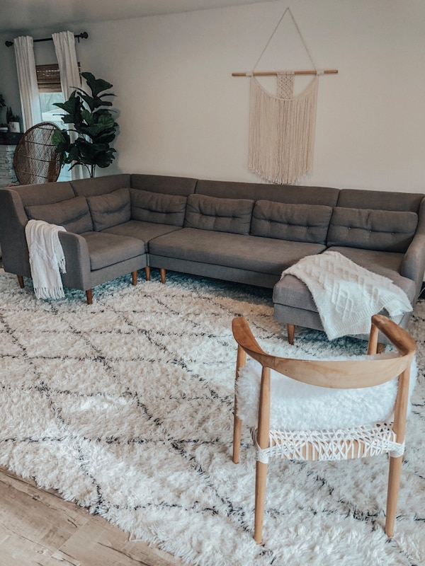 West Elm Crosby Sectional Sofa Couch Mid Century Modern Large U Tufted