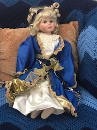 porcelain doll in blue and white dress Rockville, 20853