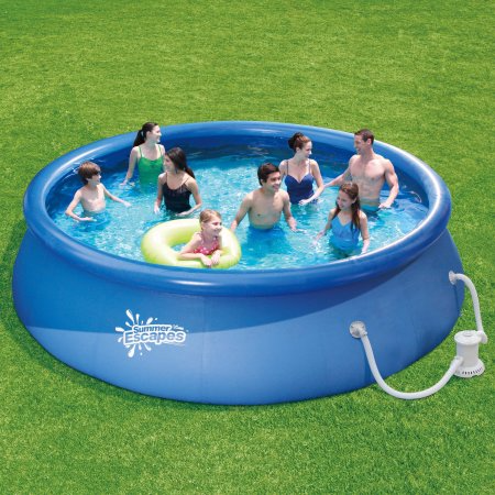 Summer Escapes 15' x 36 Quick Set Round Above Ground Swimming Pool with  Filter Pump System