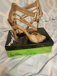 brown leather open-toe ankle-strap heels Toronto, M9N 1X7