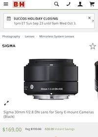 Sigma 30mm f/2.8 DN ART Lens for Micro Four Thirds Cameras, Black Ashburn, 20147
