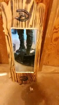 brown wooden framed wall mirror San Angelo