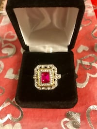 925 sterling silver gold plated ruby cut ring Los Angeles, 91403