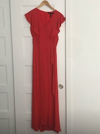 Cocktail coral dress with slit  size small