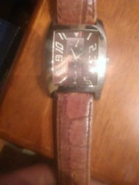 rectangular silver-colored analog watch with brown leather strap Perris, 92570