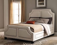 Queen White Sand Upholstered Nail Head Bed Charlotte, 28216