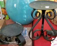 2 black candle holders and string battery operated lights