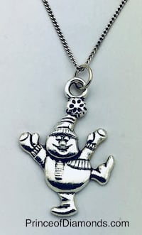 Silver coloured happy snowman pendant with real sterling silver adjustable chain Brampton, L6R 1X5