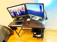 Custom Built Walnut Stained Hardwood Computer Desk New York, 10075