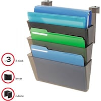 NEW-deflecto DocuPocket Three-Pocket File Set for Partition Walls, Letter, 13 x 7 x 4, Smoke Belmont