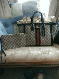 monogrammed brown Gucci leather tote bag Charlotte, 28269