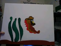 green and red cartoon snail painting Prineville, 97754