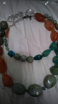 Barse turquoise and exotic stone necklace