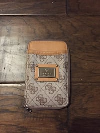 brown and gray monogram Coach leather wristlet Puslinch, N0B
