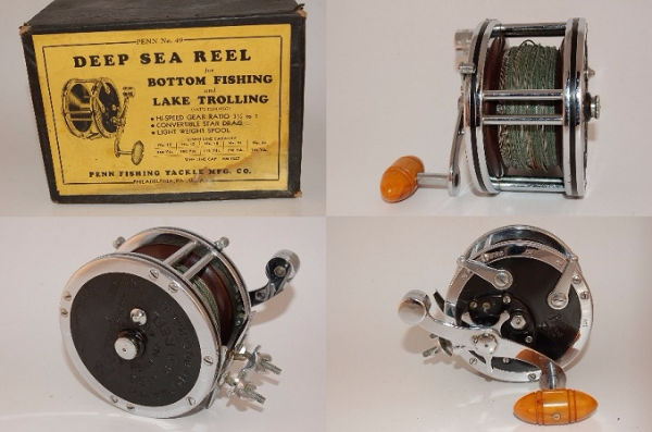 silver and black steel Deep Sea fishing reel with box Smyrna