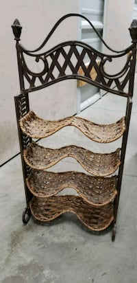 Wicker wine rack with cast iron frame and top Lone Tree, 80124