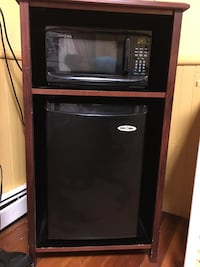 Mini-fridge & Microwave combo with wooden cabinet (Snackmate brand)