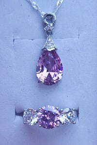 Sterling silver pink sapphire ring and necklace