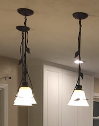 Three pendant lights, oil rubbed bronze with frosted glass globes Lawrence, 46236