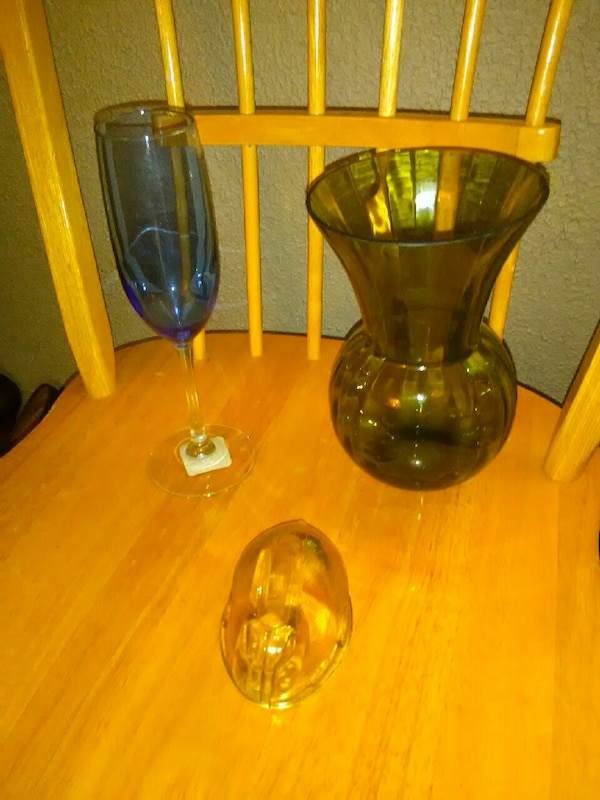 Used Green Glass Vase And Blue Flute Wine Glass For Sale In Merced
