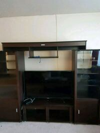 brown wooden TV hutch tv not included  Burnaby, V5E 1H3