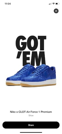 CLOT x NIKE AIR FORCE 1 Size 9.5